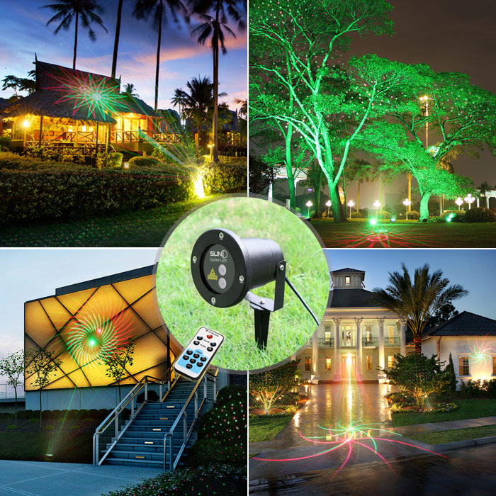 20 Patterns Red Green Laser Lawn Lamp Outdoor Waterproof Lights