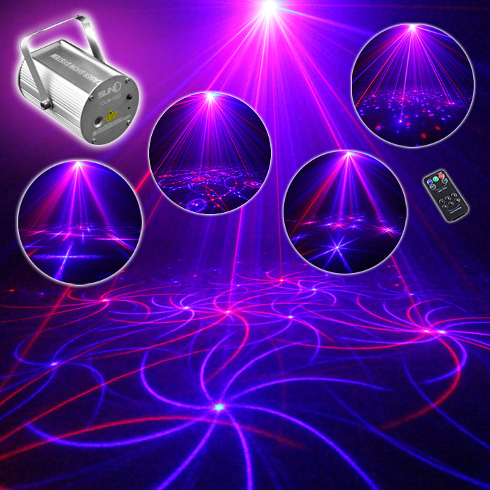 Vioce Control Red Blue Laer Stage Lights 12 Patterns Mini Laser KTV Flash